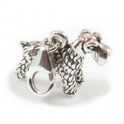 Giant Schnauzer Dog 3D Sterling Silver Clip On Charm - With Clasp
